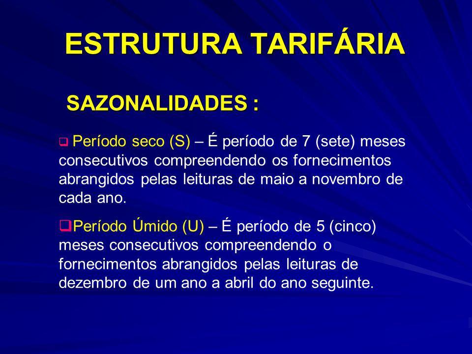 ESTRUTURA TARIFÁRIA SAZONALIDADES :