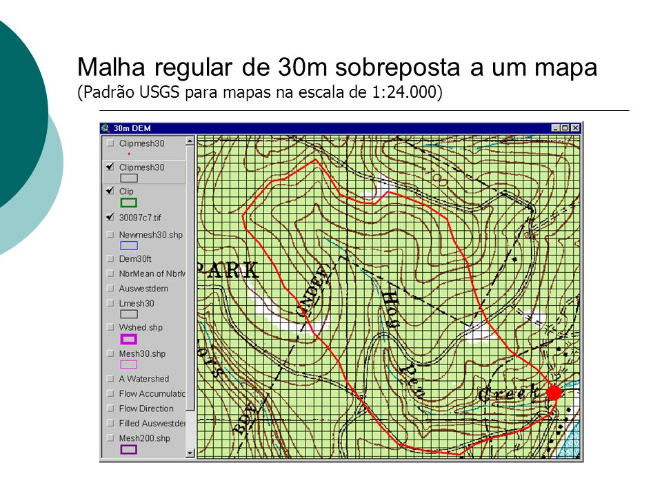 Malha regular de 30m sobreposta a um mapa (Padrão USGS para mapas na escala de 1:24.000)
