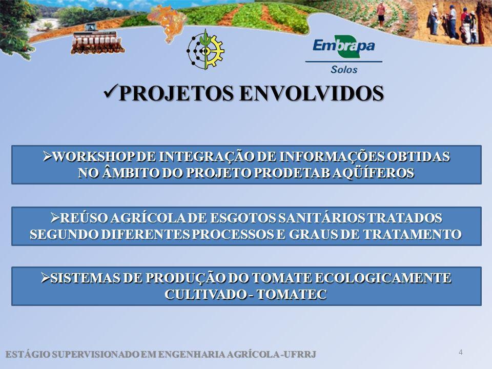 PROJETOS ENVOLVIDOS WORKSHOP DE INTEGRAÇÃO DE INFORMAÇÕES OBTIDAS