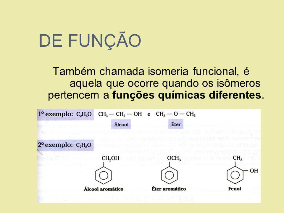 DE FUNÇÃOTambém chamada isomeria funcional, é aquela que ocorre quando os isômeros pertencem a funções químicas diferentes.