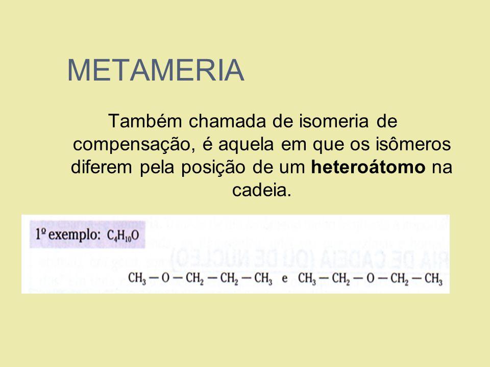 METAMERIA Também chamada de isomeria de compensação, é aquela em que os isômeros diferem pela posição de um heteroátomo na cadeia.