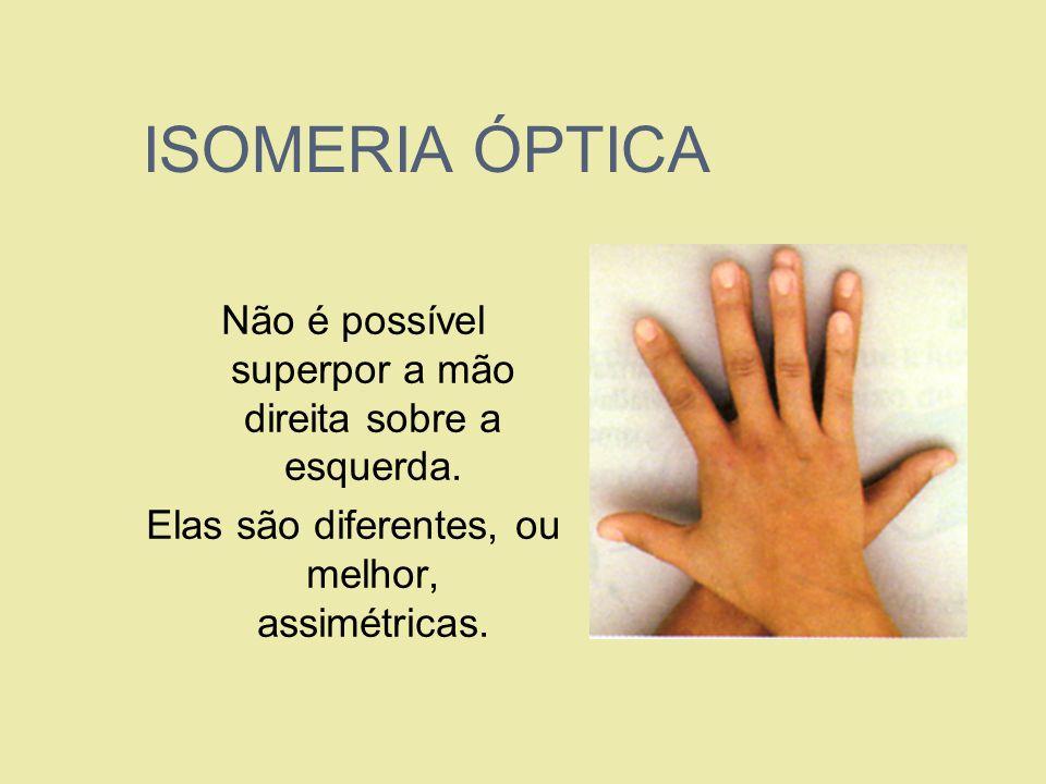 ISOMERIA ÓPTICANão é possível superpor a mão direita sobre a esquerda.