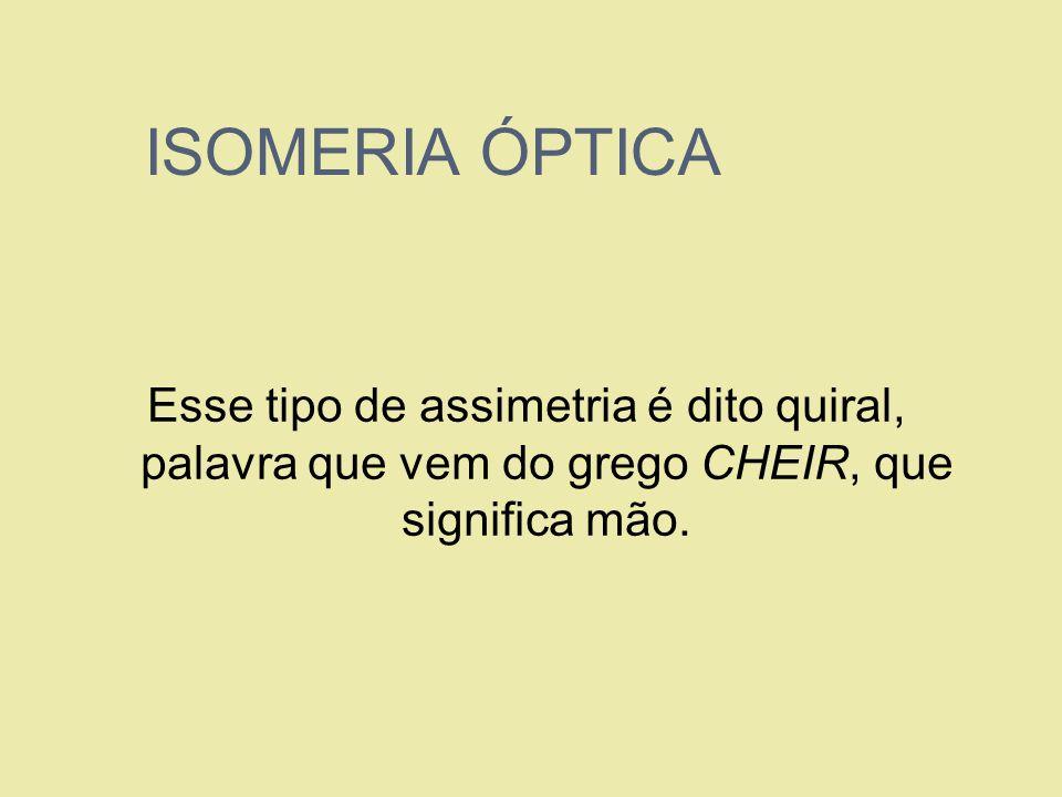 ISOMERIA ÓPTICAEsse tipo de assimetria é dito quiral, palavra que vem do grego CHEIR, que significa mão.