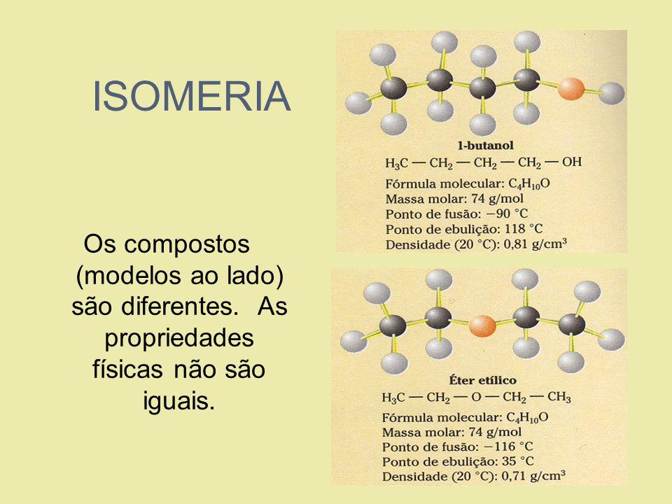ISOMERIA Os compostos (modelos ao lado) são diferentes. As propriedades físicas não são iguais.