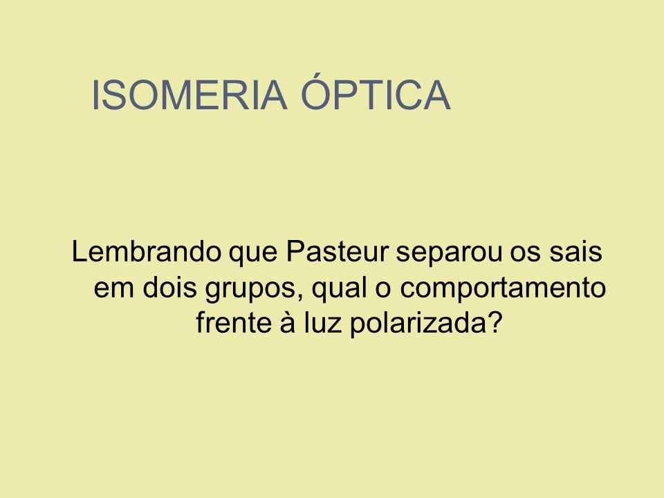 ISOMERIA ÓPTICA Lembrando que Pasteur separou os sais em dois grupos, qual o comportamento frente à luz polarizada