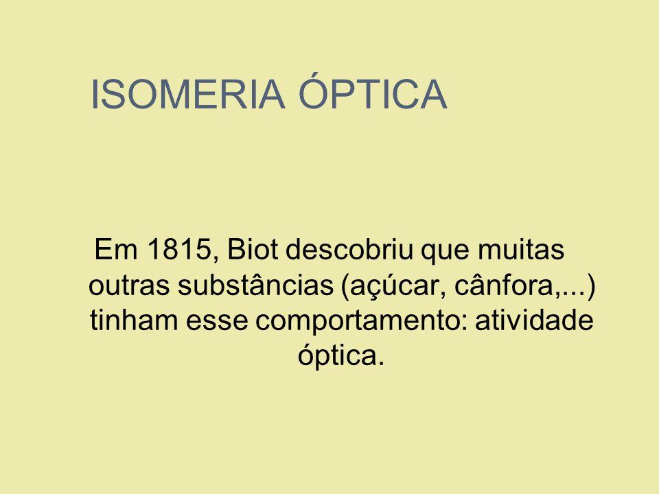 ISOMERIA ÓPTICAEm 1815, Biot descobriu que muitas outras substâncias (açúcar, cânfora,...) tinham esse comportamento: atividade óptica.