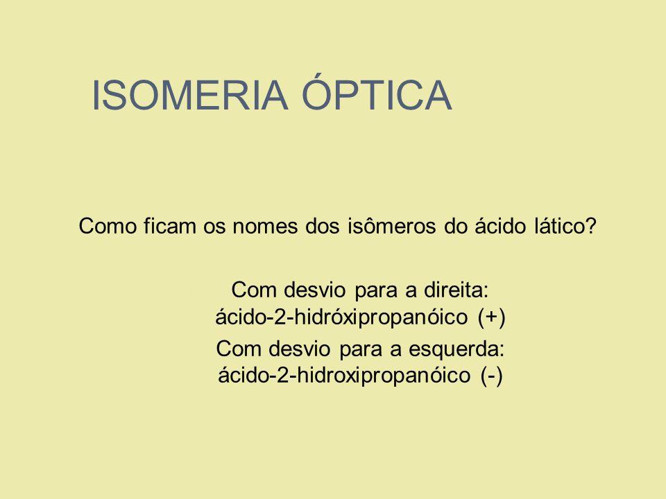 ISOMERIA ÓPTICA Como ficam os nomes dos isômeros do ácido lático