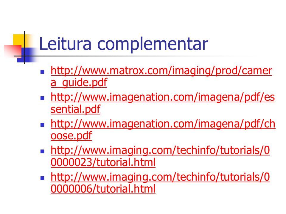 Leitura complementar http://www.matrox.com/imaging/prod/camera_guide.pdf. http://www.imagenation.com/imagena/pdf/essential.pdf.