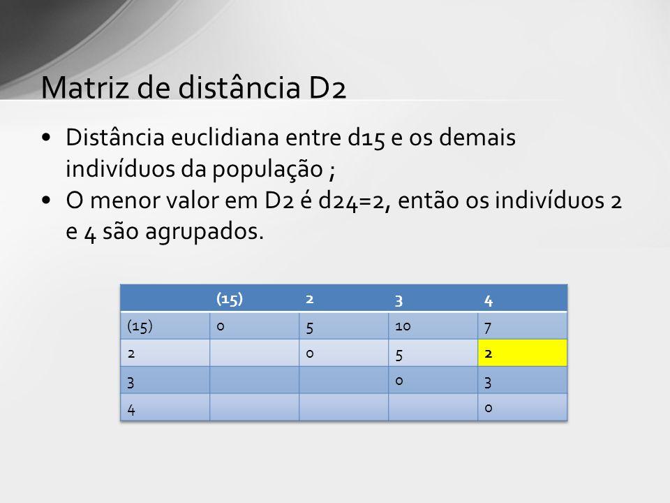 Matriz de distância D2 Distância euclidiana entre d15 e os demais indivíduos da população ;