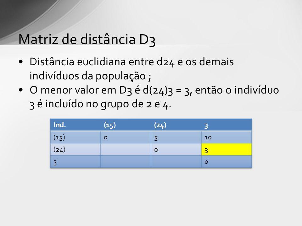 Matriz de distância D3 Distância euclidiana entre d24 e os demais indivíduos da população ;