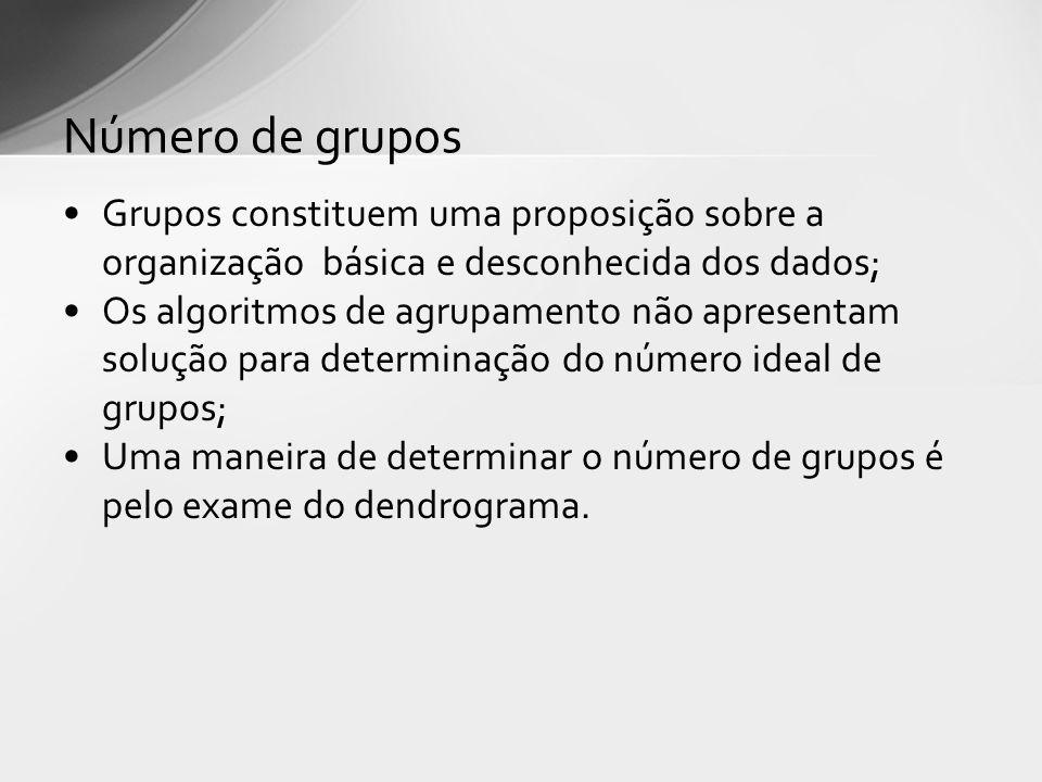 Número de grupos Grupos constituem uma proposição sobre a organização básica e desconhecida dos dados;
