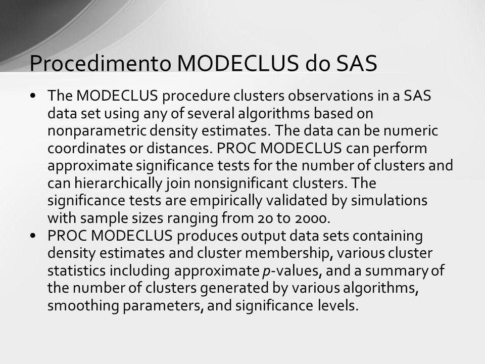 Procedimento MODECLUS do SAS