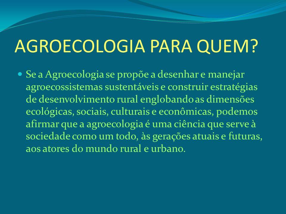 AGROECOLOGIA PARA QUEM