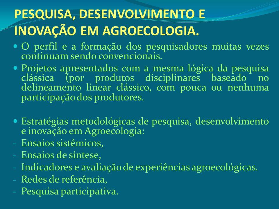 PESQUISA, DESENVOLVIMENTO E INOVAÇÃO EM AGROECOLOGIA.