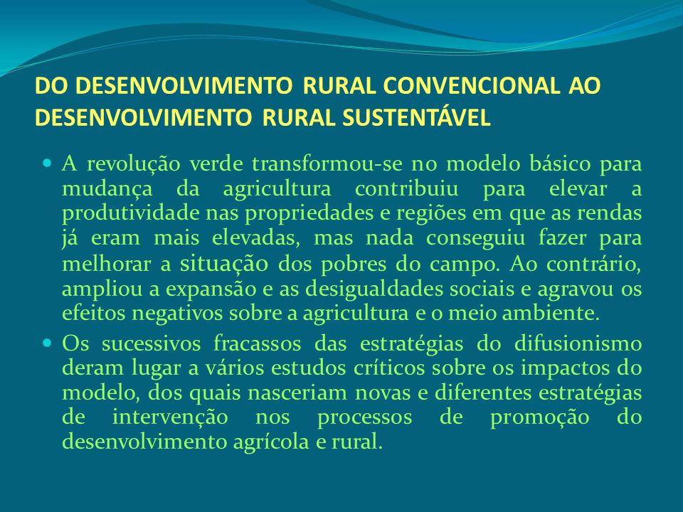 DO DESENVOLVIMENTO RURAL CONVENCIONAL AO DESENVOLVIMENTO RURAL SUSTENTÁVEL