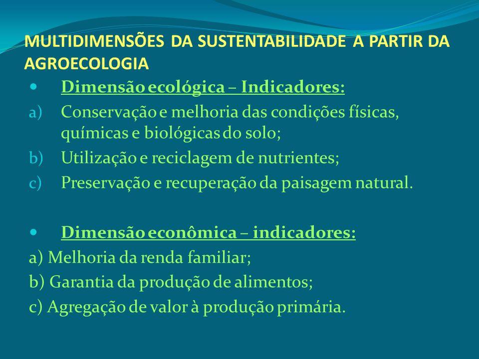 MULTIDIMENSÕES DA SUSTENTABILIDADE A PARTIR DA AGROECOLOGIA