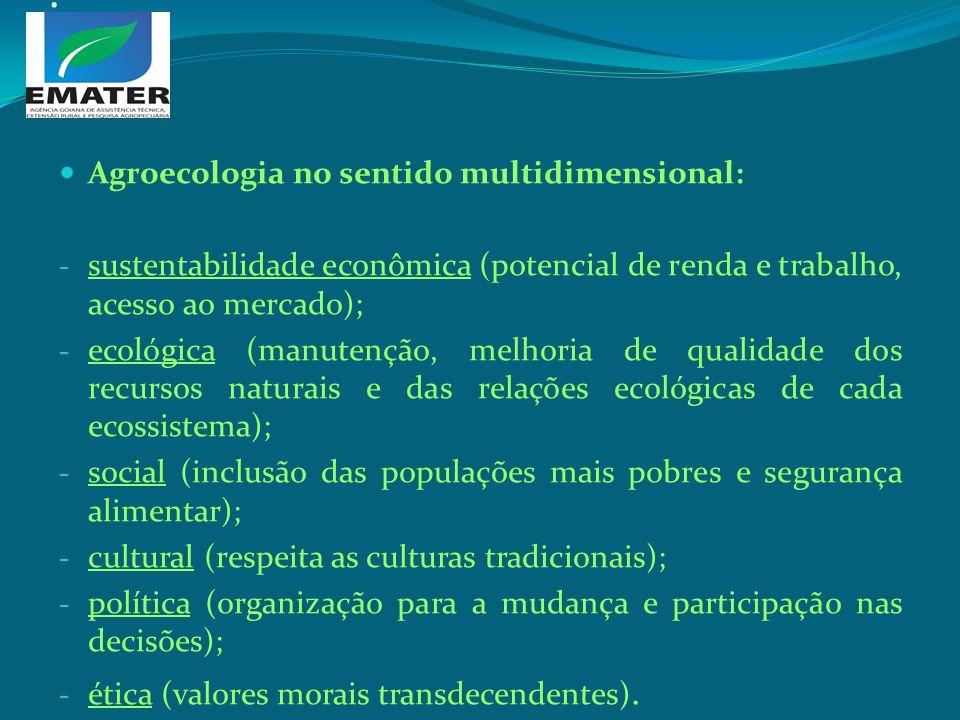. Agroecologia no sentido multidimensional: