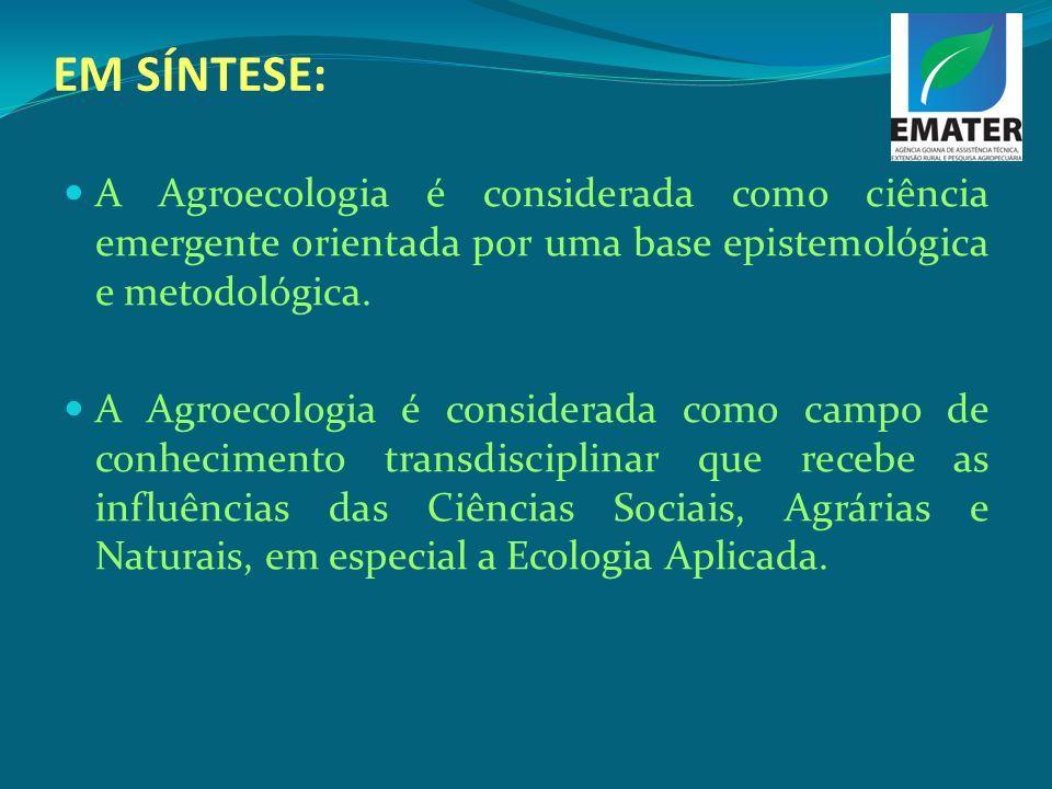 EM SÍNTESE:A Agroecologia é considerada como ciência emergente orientada por uma base epistemológica e metodológica.