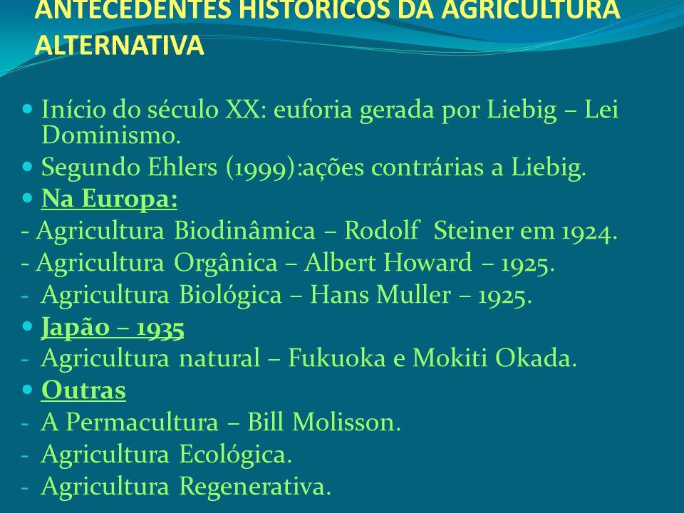 ANTECEDENTES HISTÓRICOS DA AGRICULTURA ALTERNATIVA