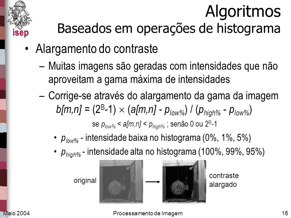 Algoritmos Baseados em operações de histograma
