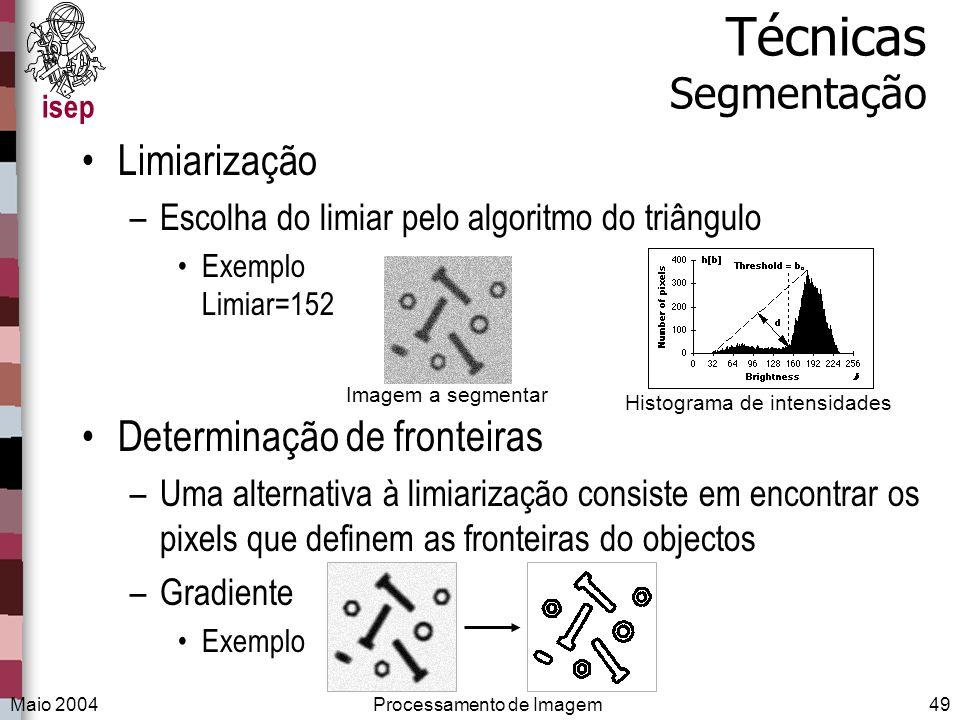 Técnicas Segmentação Limiarização Determinação de fronteiras
