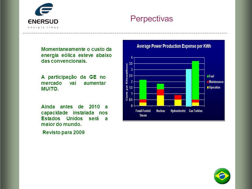 Perpectivas Momentaneamente o custo da energia eólica esteve abaixo das convencionais. A participação da GE no mercado vai aumentar MUITO.