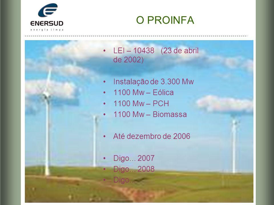 O PROINFA LEI – 10438 (23 de abril de 2002) Instalação de 3.300 Mw