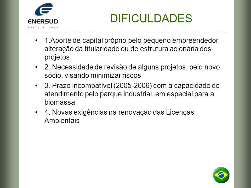 DIFICULDADES 1.Aporte de capital próprio pelo pequeno empreendedor: alteração da titularidade ou de estrutura acionária dos projetos.