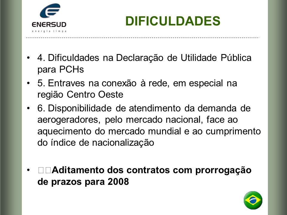 DIFICULDADES 4. Dificuldades na Declaração de Utilidade Pública para PCHs. 5. Entraves na conexão à rede, em especial na região Centro Oeste.