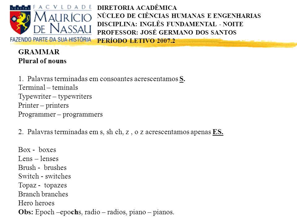 GRAMMAR Plural of nouns. 1. Palavras terminadas em consoantes acrescentamos S. Terminal – teminals.