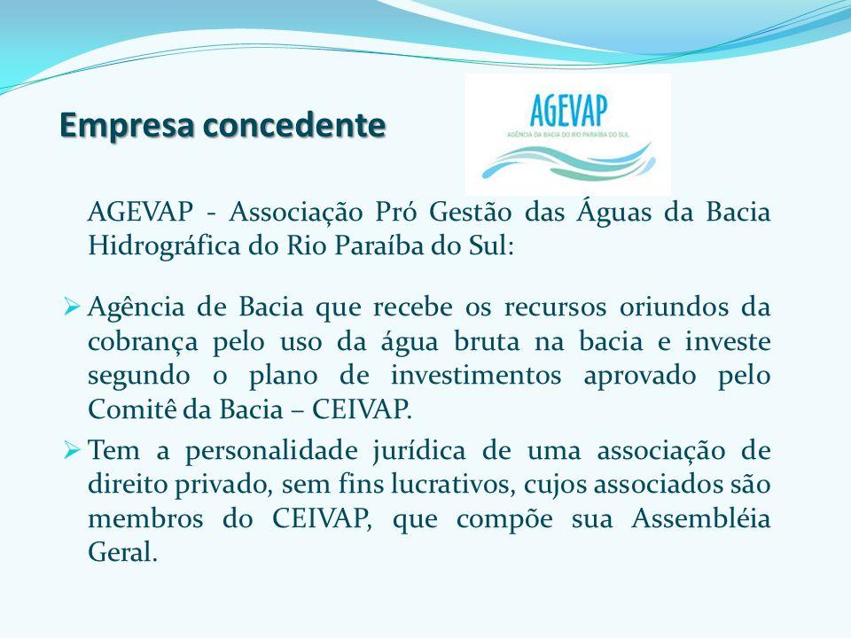 Empresa concedente AGEVAP - Associação Pró Gestão das Águas da Bacia Hidrográfica do Rio Paraíba do Sul: