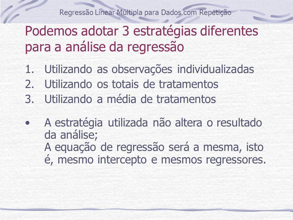 Podemos adotar 3 estratégias diferentes para a análise da regressão