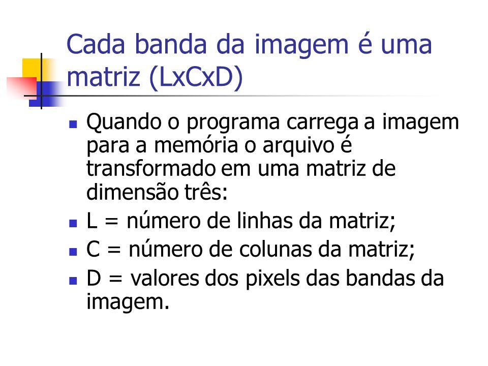 Cada banda da imagem é uma matriz (LxCxD)