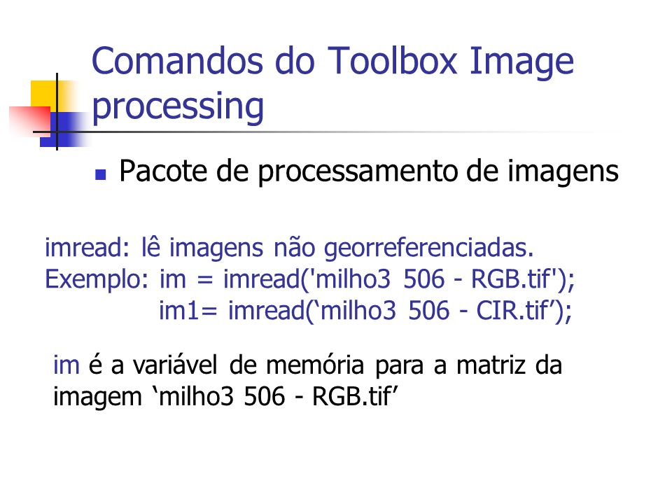 Comandos do Toolbox Image processing