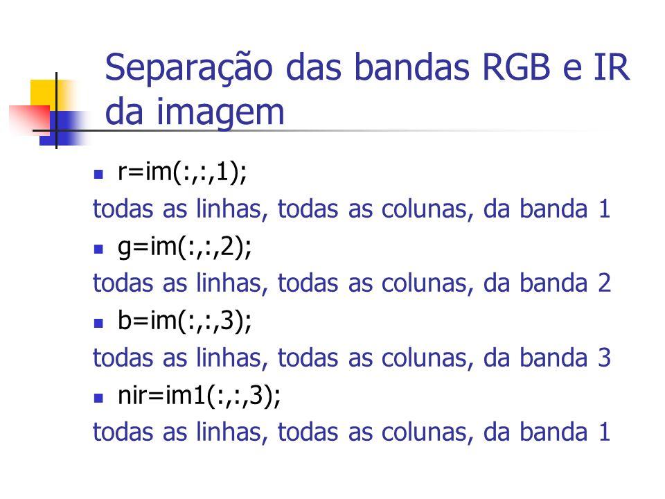 Separação das bandas RGB e IR da imagem
