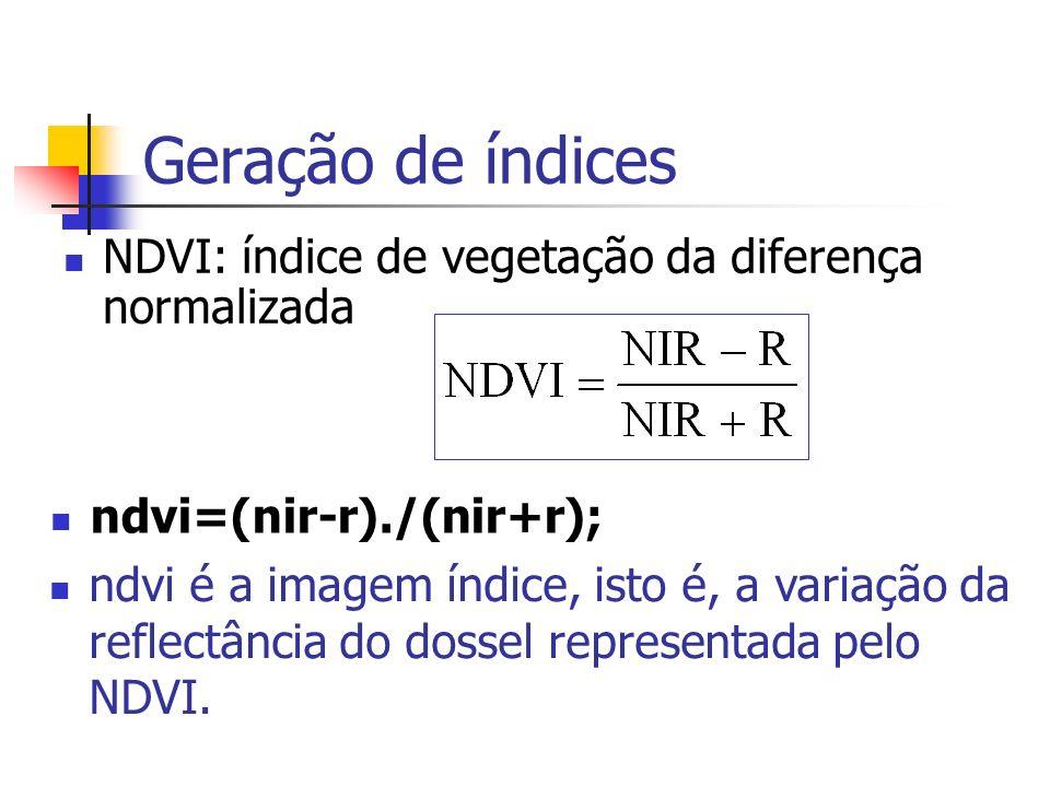 Geração de índices NDVI: índice de vegetação da diferença normalizada