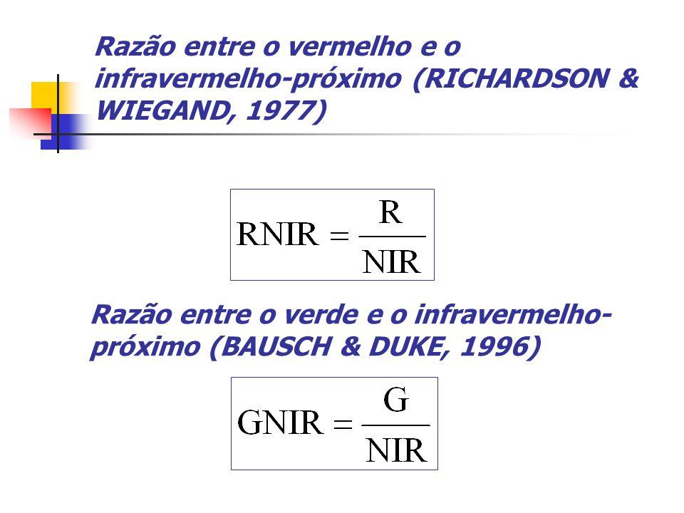 Razão entre o vermelho e o infravermelho-próximo (RICHARDSON & WIEGAND, 1977)