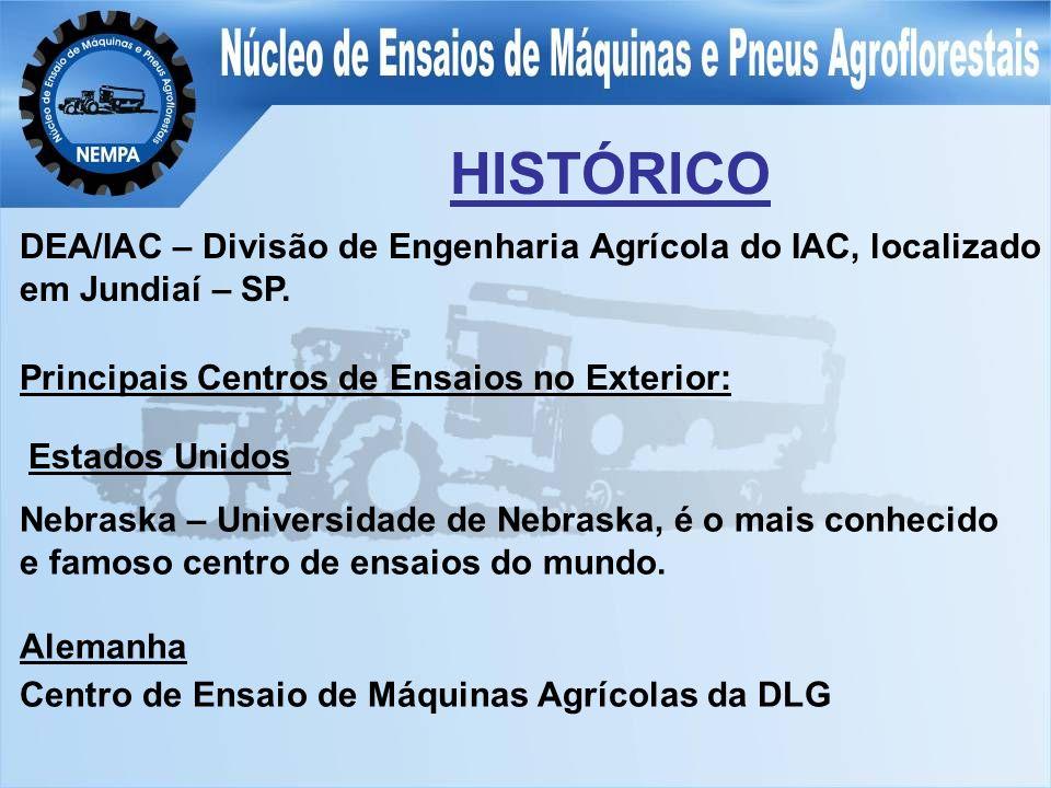 HISTÓRICO DEA/IAC – Divisão de Engenharia Agrícola do IAC, localizado em Jundiaí – SP. Principais Centros de Ensaios no Exterior: