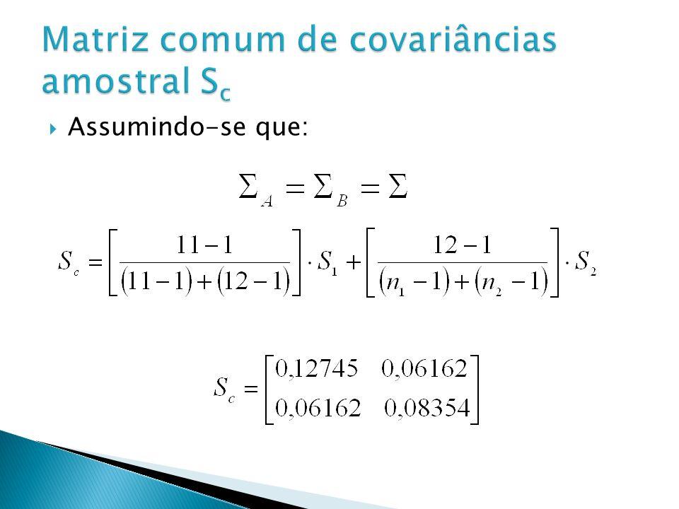 Matriz comum de covariâncias amostral Sc