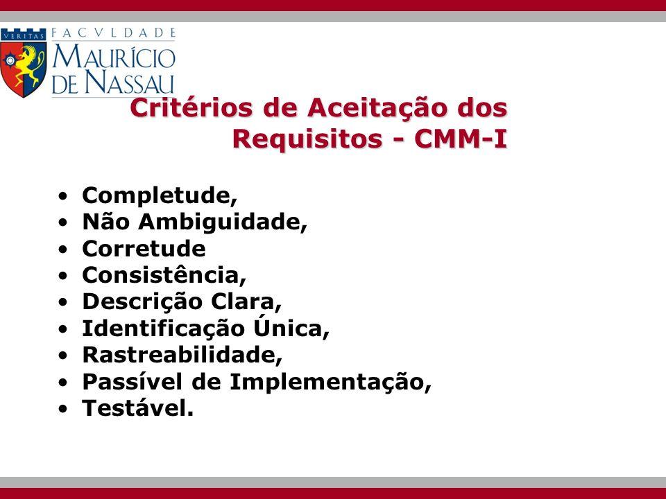 Critérios de Aceitação dos Requisitos - CMM-I