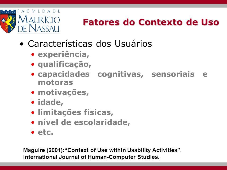 Fatores do Contexto de Uso