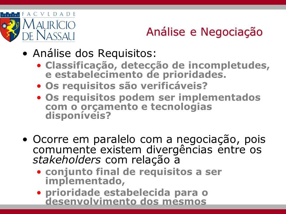 Análise e Negociação Análise dos Requisitos:
