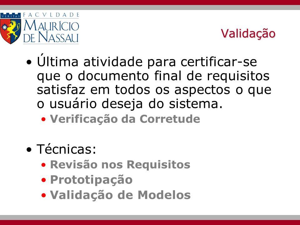 ValidaçãoÚltima atividade para certificar-se que o documento final de requisitos satisfaz em todos os aspectos o que o usuário deseja do sistema.