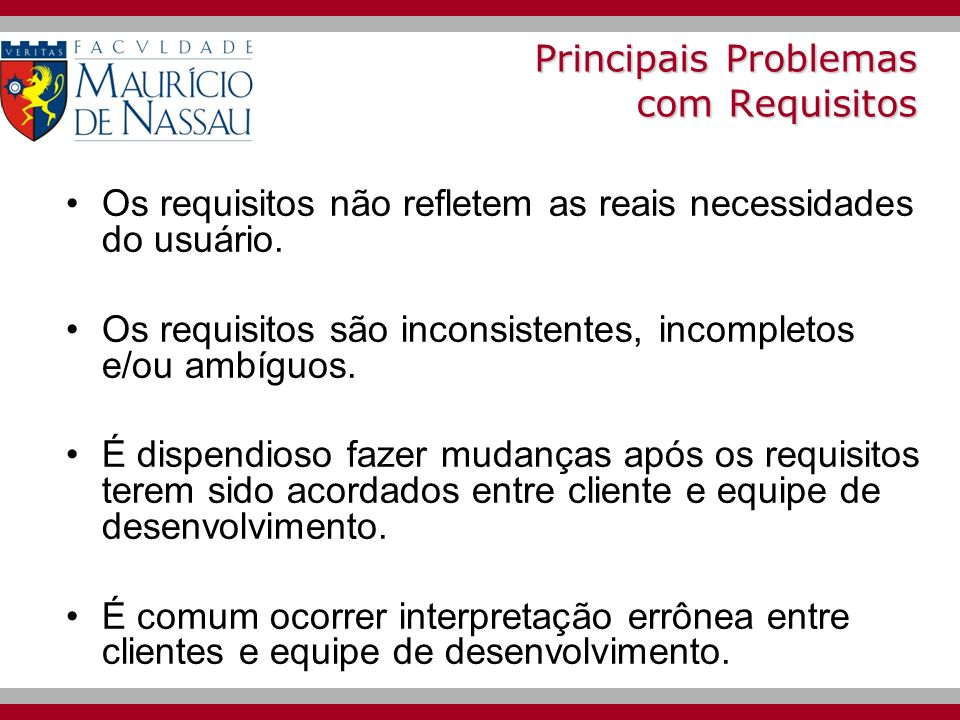Principais Problemas com Requisitos