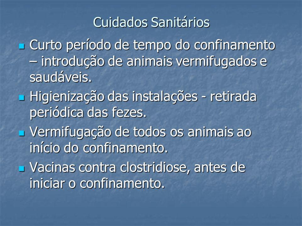 Cuidados SanitáriosCurto período de tempo do confinamento – introdução de animais vermifugados e saudáveis.