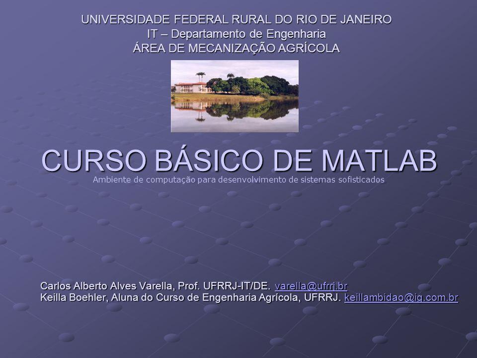 CURSO BÁSICO DE MATLAB UNIVERSIDADE FEDERAL RURAL DO RIO DE JANEIRO