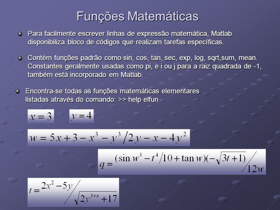 Funções Matemáticas Para facilmente escrever linhas de expressão matemática, Matlab disponibiliza bloco de códigos que realizam tarefas específicas.