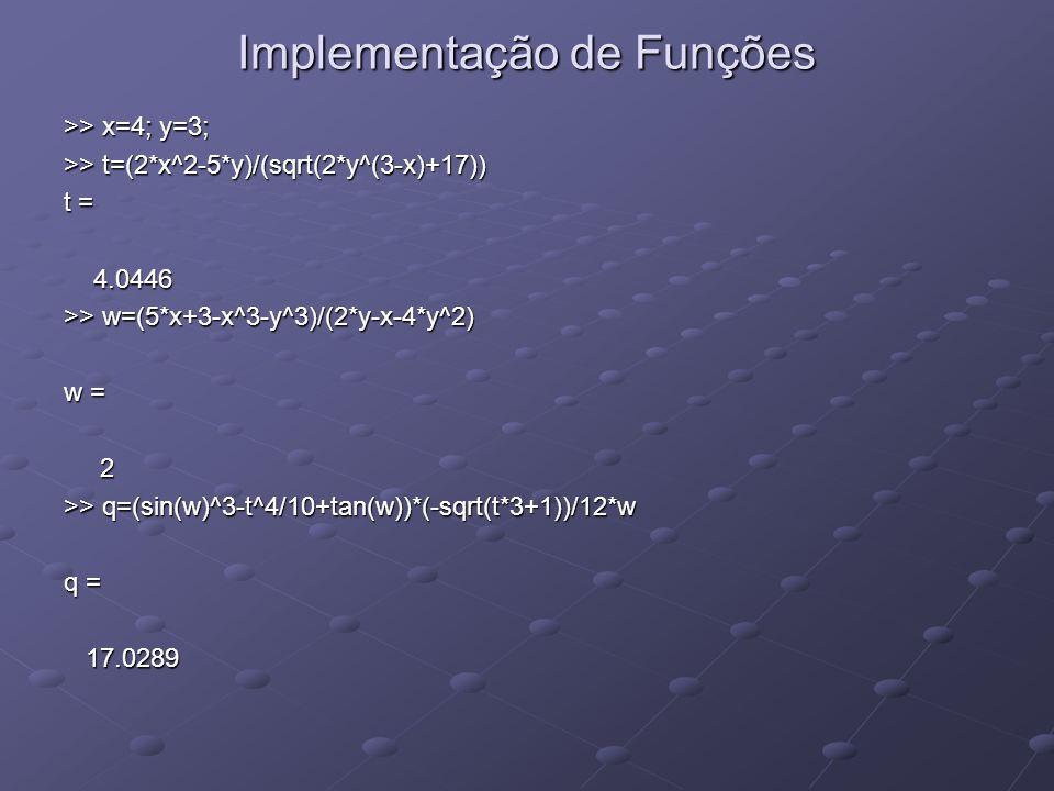 Implementação de Funções