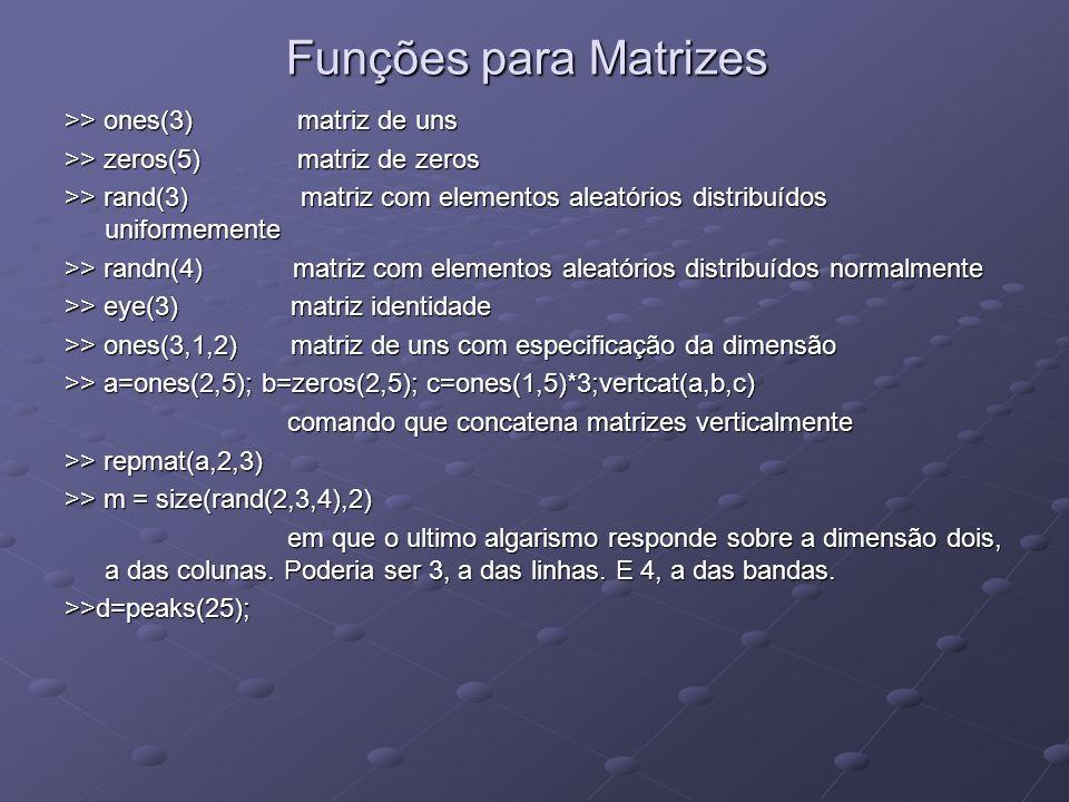 Funções para Matrizes >> ones(3) matriz de uns