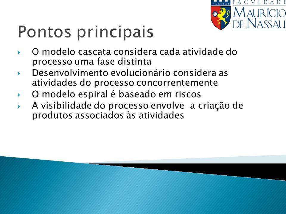Pontos principaisO modelo cascata considera cada atividade do processo uma fase distinta.